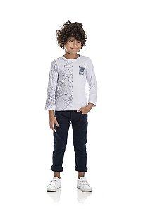 Kit 3 Camisetas Meia Malha Estampa Dividida 4 a 8