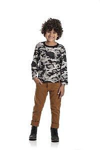 Kit 3 Camisetas Meia Malha Camuflada 4 a 8