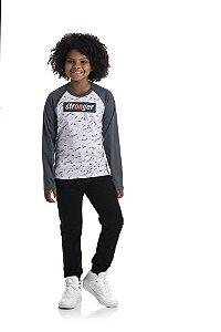 Kit 3 Camisetas Meia Malha Manga Raglan 10 a 14