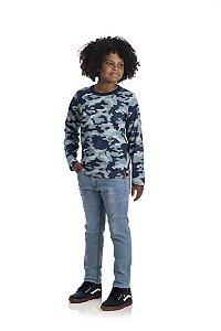 Kit 3 Camisetas Meia Malha Camuflada 10 a 14