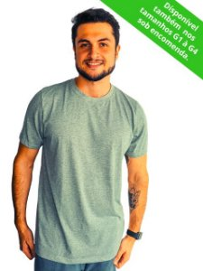 Camiseta Modo Avião Cinza Mescla Básica