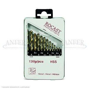 Jogo de Brocas Haste Paralela DIN338 HSS com Cobertura de Titânio 13 Peças - 1,5 a 6,5mm