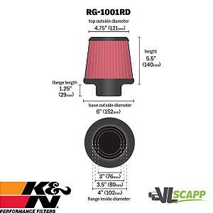 Filtro de ar K&N duplo fluxo RG -1001- RD