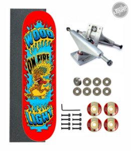 Skate Wood Light Amador Completo Tree On Fire Red