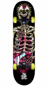 Skate Wood Light Black Skull