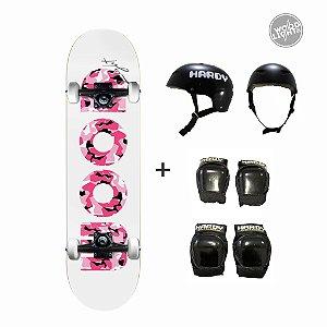 Skate Wood Light Completo + Kit de Proteção - Army Pink