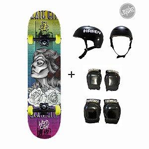 Skate Wood Light + Kit de Proteção - Andrômeda