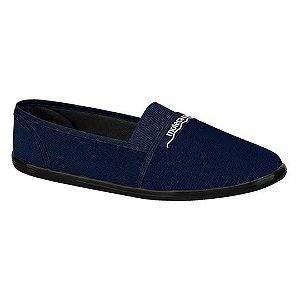 Sapatilha Moleca Feminina Elástico Pano Confort 52059 Azul Marinho