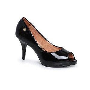 Sapato Vizzano Peep Toe Verniz Preto