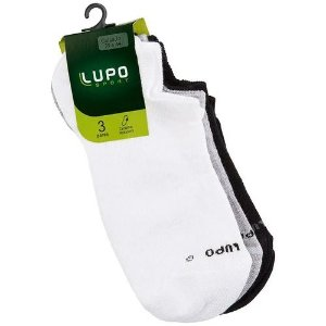 Kit 3 Pares de Meias Sapatilha Unisex Lupo Branco/ Cinza/ Preto 03270
