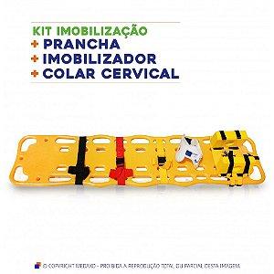 KIT IMOBILIZAÇÃO - PRANCHA + IMOBILZADOR + COLAR CERVICAL 16 POSIÇÕES