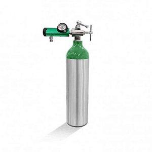 Kit oxigênio 3 Litros -  Cilindro Alumínio  + Válvula Yoke + Regulador Click Yoke