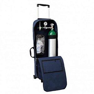 Kit Oxigênio Portátil 3 Litros Bolsa Azul com Rodinhas (Sem Carga)