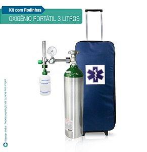 Kit Oxigênio Portátil 3 L Bolsa Azul com Rodinhas Sem Carga