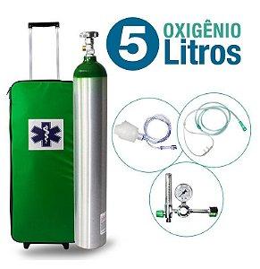 Kit Oxigênio Portátil 5 Litros Bolsa Verde com Rodinhas (Sem Carga)