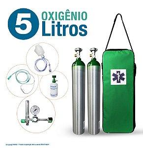 Kit Oxigênio Portátil 5 Litros com 2 Cilindros (Sem Carga)