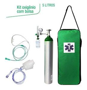 Kit Oxigênio Portátil 5 Litros Alumínio com Bolsa Verde (SEM CARGA)