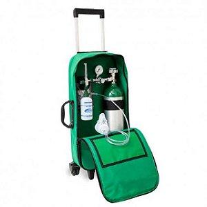Kit Oxigênio Portátil 3 Litros Bolsa Verde Com Rodinhas (Sem Carga)