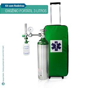 Kit Oxigênio Portátil 3 L Verde Bolsa Verde com Rodinhas