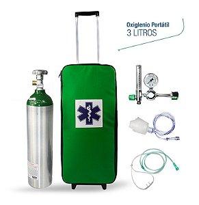 Kit Oxigênio Portátil 3 Litros Verde Bolsa Verde com Rodinhas