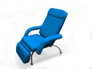 Poltrona Coleta Sangue/Hemodiálise - Aço Carbono Luxo Azul