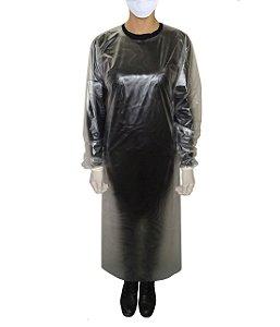 Avental de PVC 0,10mm reutilizável , manga longa c/ elástico nos punhos