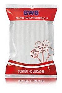 Palito Para Pirulito Branco Nº 14 Com 100 Unidades - Bwb