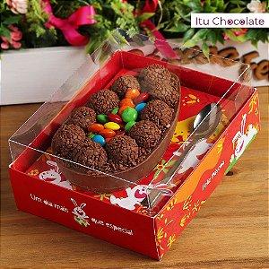 Caixa para Ovo de Páscoa de Colher 500g Cor Vermelha -10 UN
