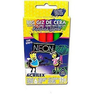Big Giz de cera com neon glitter | 6 cores | Acrilex
