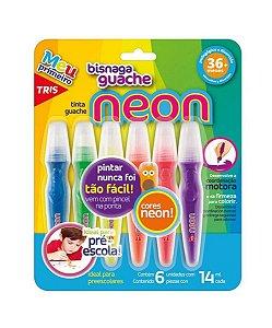Tinta Guache Bisnaga Tris 6 Cores Neon 14ML | Tris