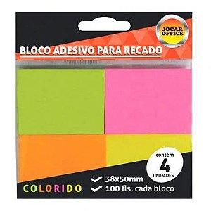 Bloco Adesivo com 4 cores neon 38x50mm 100 Folhas em cada bloco Jocar Office | Leonora