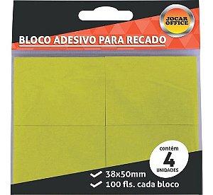 Bloco Adesivo Amarelo com 4 100 Folhas em cada bloco 38x50mm Jocar Office | Leonora