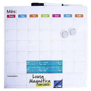 Lousa Magnética com Caneta Mensal com 2 imãs + Caneta com Apagador 35,5 x 35,5 cm | FWB