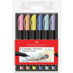 Caneta Brush Pen Supersoft Pastel 6 cores | Faber-Castell