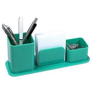 Porta canetas, clips e lembretes Triplo Verde Dellocolor   Dello