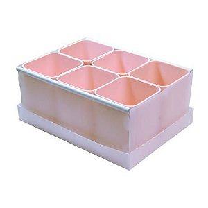 Caixa Organizadora de Objetos com 6 Rosa Pastel | Dello