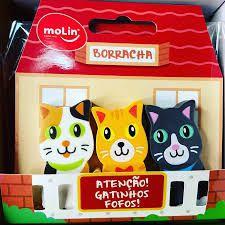 Borracha Decorada Atenção Gatinhos Fofos com 3 unidades| Molin