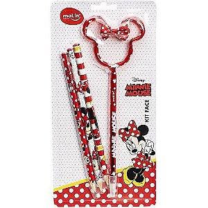 Kit Escolar Face Minnie Mouse Vermelho | Molin