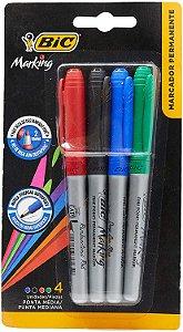 Marcador Permanente 4 cores vermelho, preto, verde e azul ponta média | BIC