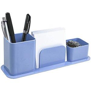 Porta canetas, clips e lembretes Triplo Azul Claro Dellocolor   Dello