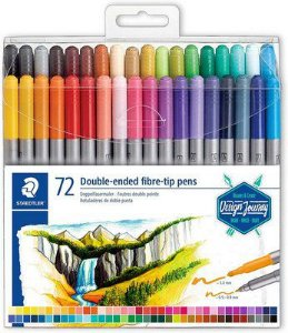 Caneta Hidrocor 72 cores Duas Pontas 0.5 e 3.0 Double Ended Fibre tip pens | Staedtler