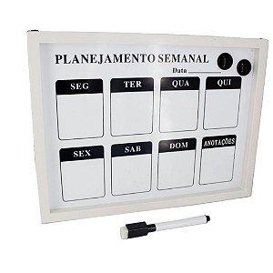 Quadro Lousa Magnética Semanal com Pincel Ponta Feltro 39,7x29,8cm | Importado