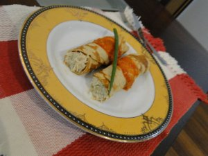 22 - Panqueca de aveia com recheio de frango e ricota - refeição congelada