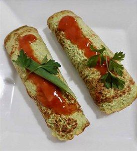 24 - Panqueca de massa de espinafre com recheio de patinho e ricota - refeição congelada