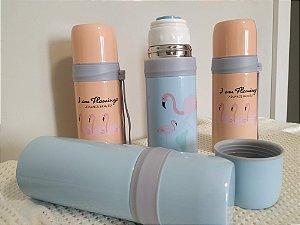 Garrafa Térmica Quente e Frio 350ML - Flamingos
