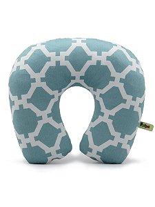 Almofada de Pescoço Estampada Azul