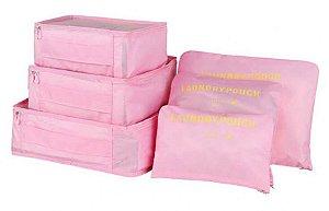 Kit Organizador de Mala 6 peças - Rosa Claro