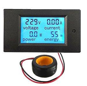 Módulo de monitor de potência Painel do medidor CA 45-65Hz Tensão de teste CA 80-260V Voltímetro e Amperímetro