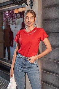 Roupas T-Shirt Feminina Estampa Delicada Vermelho