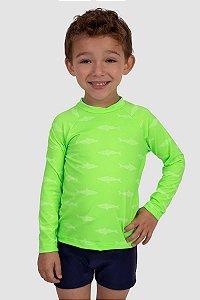 Blusa Manga Longa Infantil Masculina Proteção Solar UV50+ Verde Neon